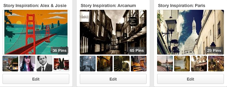 story inspiration boards on pinterest