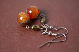 Amber Agate Earrings